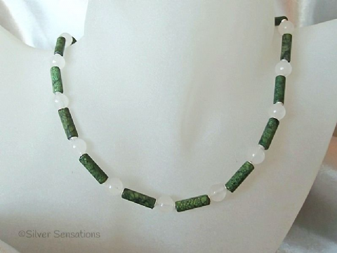 Green Chrysocolla Jasper Tubes & White Jade Sterling Silver Necklace